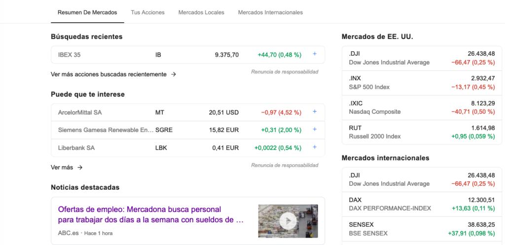 Finanzas en Google